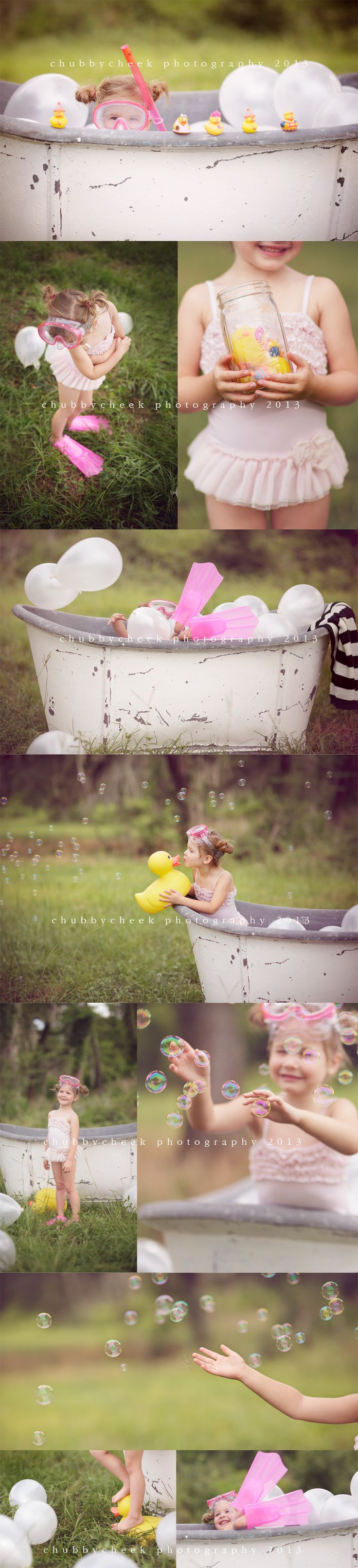Chubby Cheek Photography Houston, TX Natural Light Photographer. Photo Session Ideas | Props | Prop | Pose Idea | Child | Fun Outdoor Bubble Bath | Swimming | Summer