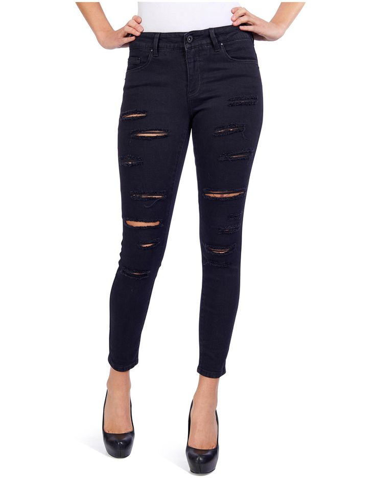 CORAL REG ANCLE SKINNY FIT JEANS, Black