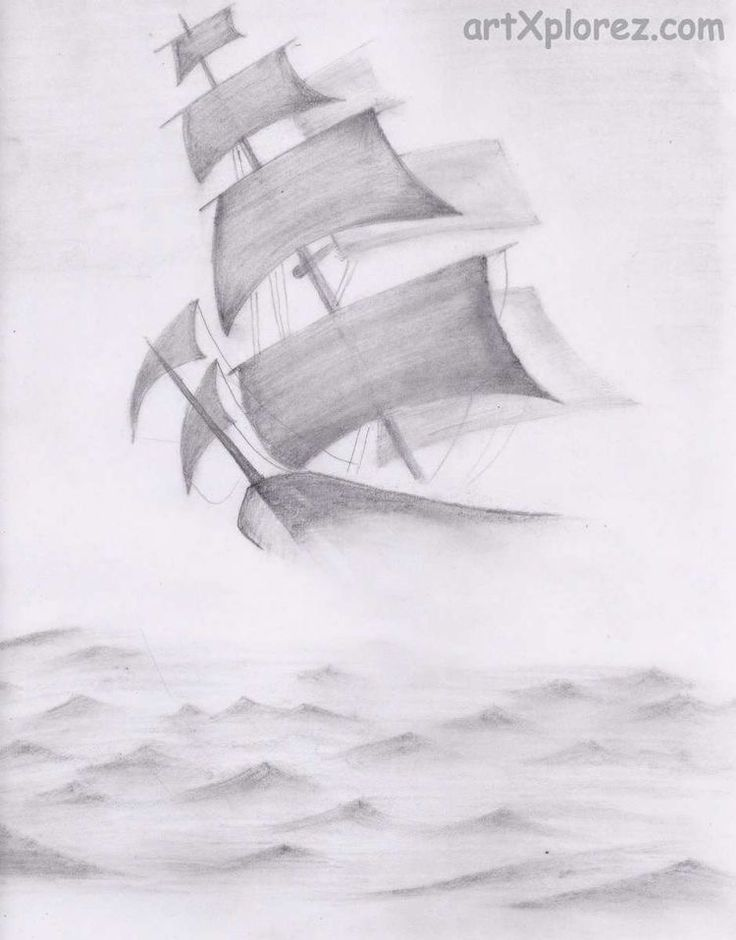 Graphic art drawing ship in heavy waves pencil shading
