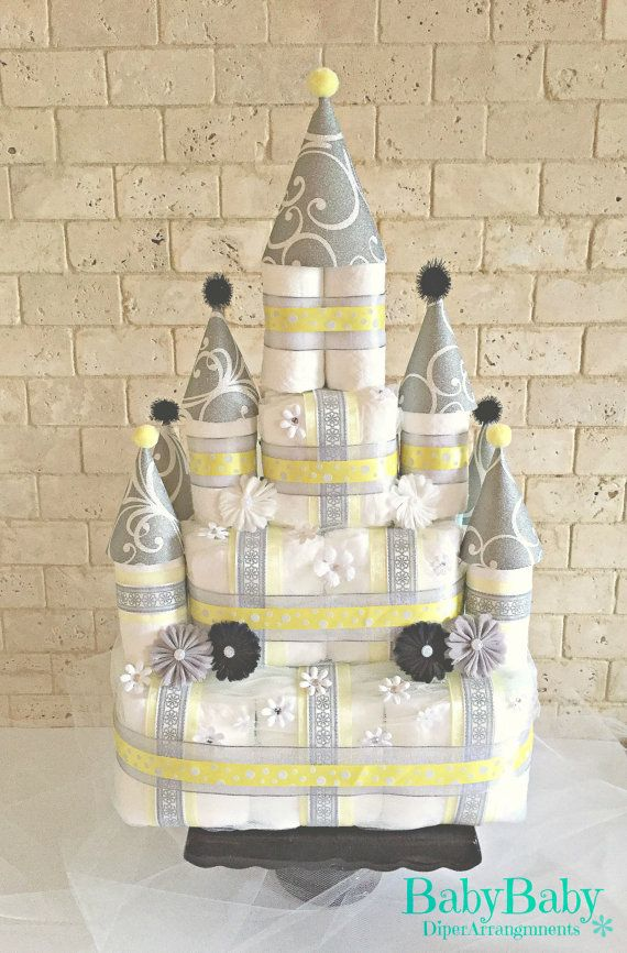 Yellow Prince or Princess Castle Diaper Cake, Neutral Baby Shower Gift and Centerpiece