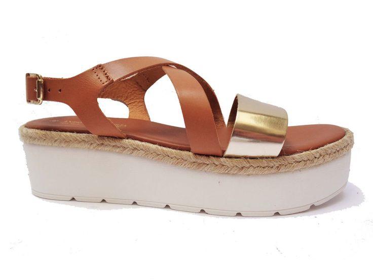 Antica Cuoieria sandali da donna in pelle Cuoio laminato Platino alt. zeppa cm.5   eBay
