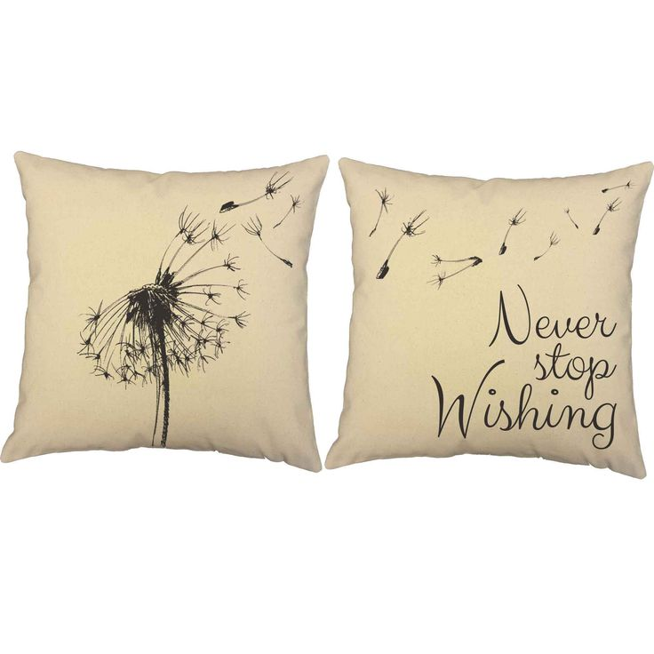 This lovely set of throw pillows is a fun, whimsical addition to any room. The handdrawn dandelion floats across both the pillows and the sweet words remind you to never stop wishing! FEATURES - Price