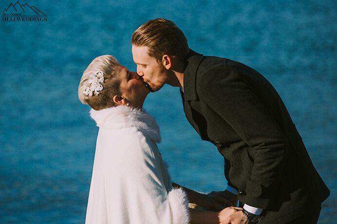 Queenstown 4wd wedding package with lakeside ceremony first kiss as husband and wife