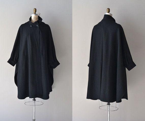 Pseudo Echo coat / vintage wool cocoon coat / black by DearGolden, $128.00