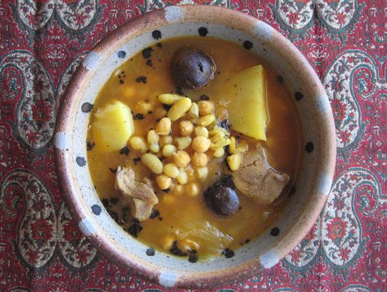 Persian Lamb soup with beans and chickpeas Classic Iranian winter food