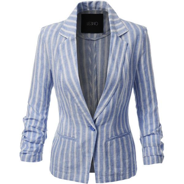LE3NO Womens Striped Single Button Linen Blazer Jacket ($25) ❤ liked on Polyvore featuring outerwear, jackets, blazers, linen jacket, blazer jacket, blue linen blazer, one button jacket and ruched sleeve blazer