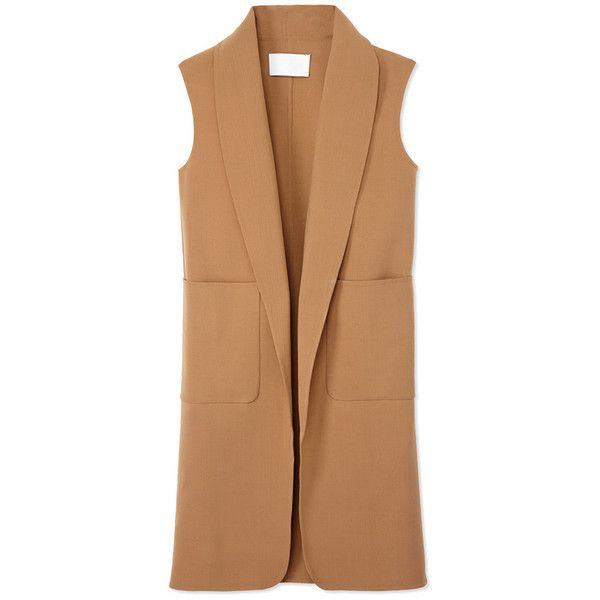 Alexander Wang Oversized Wool Vest (46.235 RUB) ❤ liked on Polyvore featuring outerwear, vests, jackets, coats, neutrals, alexander wang vest, beige vest, vest waistcoat, wool sleeveless vest and knee length vest