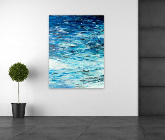 Large Abstract Painting Ocean Beach Home Decor by Jessica Torrant