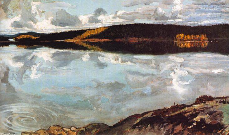 Vue sur le lac Ruovesi, huile sur toile de Akseli Gallen Kallela (1865-1931, Finland)