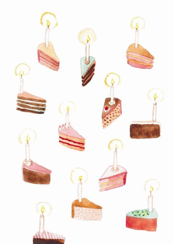 Dortové přání Narozeninové přáníčko (A6) s lákavými kousky dortů. Vzor je malovaný vodovými barvami, tištěno na papíře Rives Tradition (320 g) na Indigo tiskárně. Dodáváme s lososovou obálkou (C6) zabalené v celofánovém sáčku.  Při objednávce jakýchkoli 3 přání sleva 20% :-)