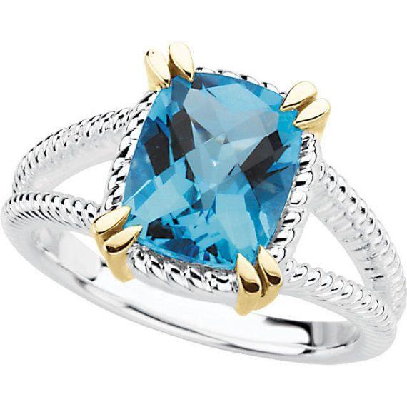 3.00 quilates cojín Natural topacio anillo en plata de ley 925