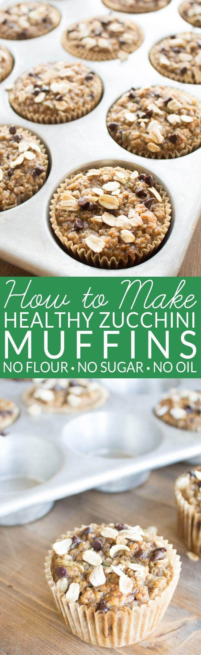Healthy Zucchini Muffins contain no oil, no refined sugar, and no flour. The oil and sugar are replaced with ripe bananas and the flour is replaced with whole grain oats. Zucchini and spices give the muffins classic zucchini bread flavor. Enjoy a fall favorites with no guilt. via @brendidblog