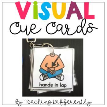 Visual Cue Cards for Students with Autism: Use these visuals to quickly reinforce verbal directions or redirect student behavior. Print, laminate, and cut out each visual. Hole punch the visual at the top or in the corner. Place selected visuals on a binder ring and attach to a lanyard.