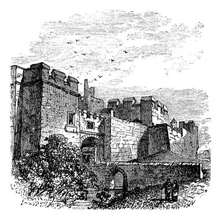 Entrance of the castle Carlisle, in Carlisle, county of Cumbria, United Kingdom vintage engraving, 1890s. Old engraved illustration of Carlisle castle, near Hadrian's wall