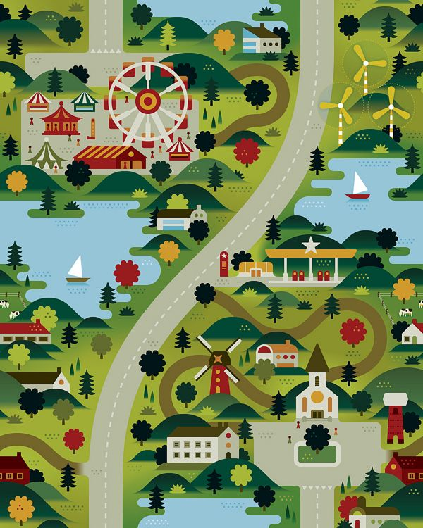 Illustrating Landscapes for Happy People: Graphics Maps, Graphics Art, Illustrations Landscape, Wallpapers Patterns, Landscape Illustrations, Khuan Cavemen, Maps Graphics, Village Illustrations, Retro Illustrations