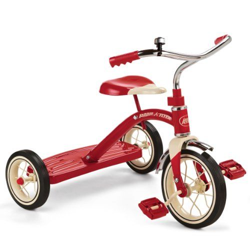 """Ride in style on the Radio Flyer Classic Red 10"""" Tricycle! This bright red tricycle is classically styled and includes chrome handlebars fender and ringing bell. This sturdy trike also features s..."""