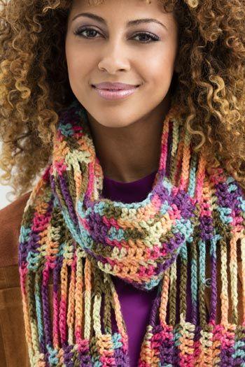 Free Crochet Pattern L50351 Pilsen Fringe Scarf : Lion Brand Yarn Company