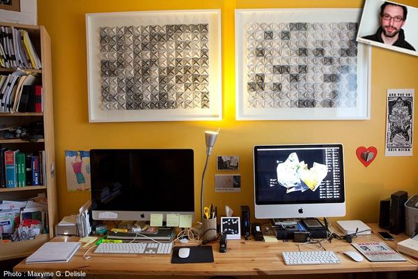 Bureau d'écriture de JEAN-SIMON DESROCHERS  | Photo: Maxyme G. Delisle