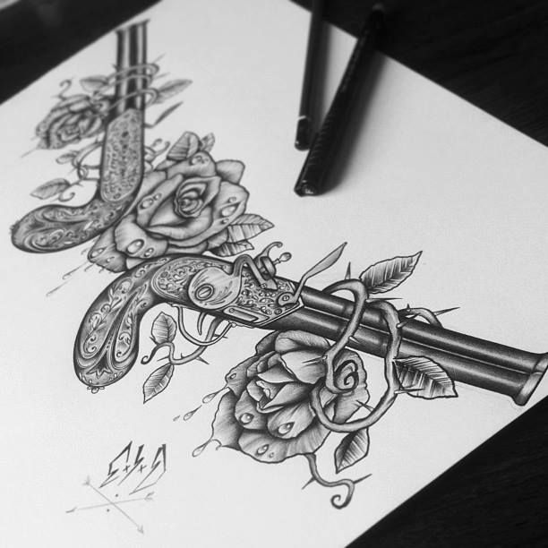 guns and roses sketch tattoo