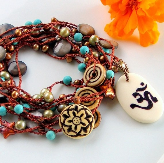 Om Pendant on Crocheted Silk Chain Yoga Jewelry by WillOaksStudio, $75.00