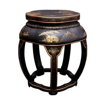 Oriental Furniture Oriental Furniture Asian Lacquer Blossom Stool