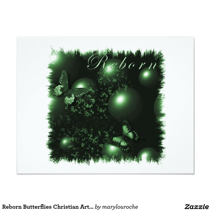 Reborn Butterflies Christian Art Green