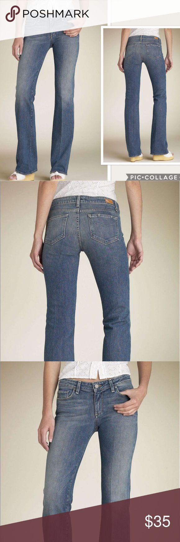"""NWOT Paige Benedict Canyon Boot Cut Jeans Slimmed-down boot-cut silhouette in a nice medium-blue wash, lighter at the front thighs and hips. Floral-printed fabric lines the waistband, and a single line of stitching runs across the back pockets. Zip fly with button closure. Five-pocket style. Logo patch at back waistband. Waist 31""""  Approx. inseam: 34"""". Approx. rise: front 8""""; back 12 1/2"""". Cotton/spandex or cotton/polyester; machine wash. For the best fit, machine wash and dry before…"""