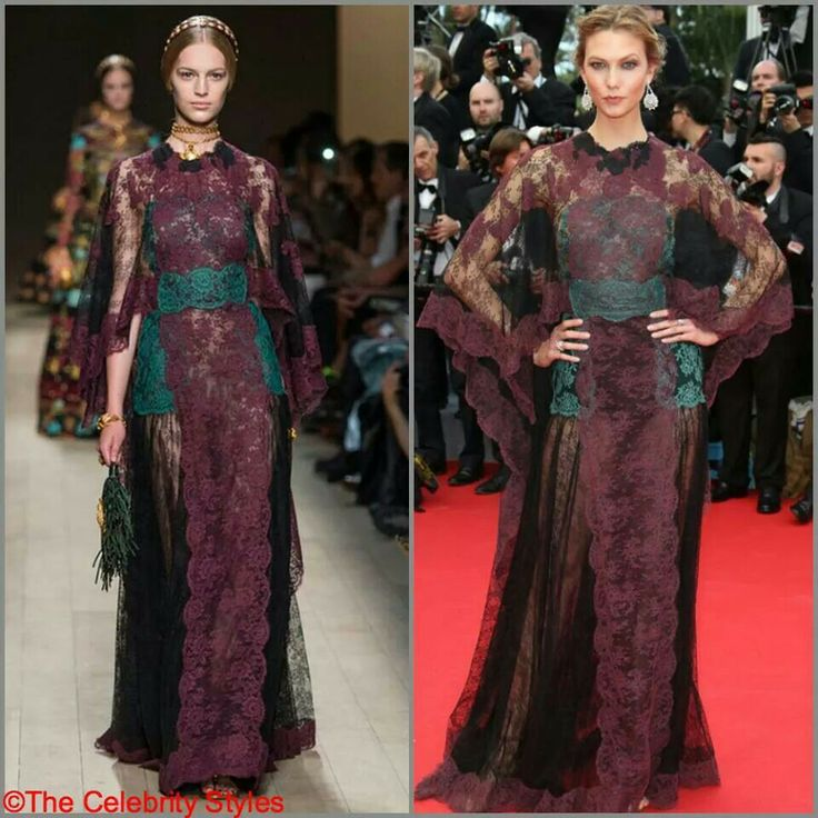 Model Karlie Kloss wore Valentino SS2014 scallop edge color lace caftan to the Opening Ceremony and the 'Grace of Monaco' premiere during the 67th Annual Cannes Film Festival on May 14, 2014.   #Cannes #CannesFilmFestival #Hollywood #Celebrity #Whowearswhat #WhoWoreWhat #Fashion #dress #movies #stars #France #Redcarpet #Valentino #2014SS #KarlieKloss #lace #model