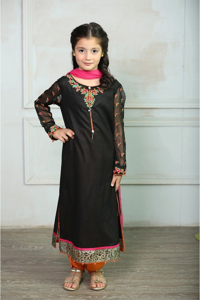 Maria B Kids #LawnCollection 3 Piece Stitched Suit MKD-121 in Black #SayNoToReplicas #PromoteOriginalsAndBeProud