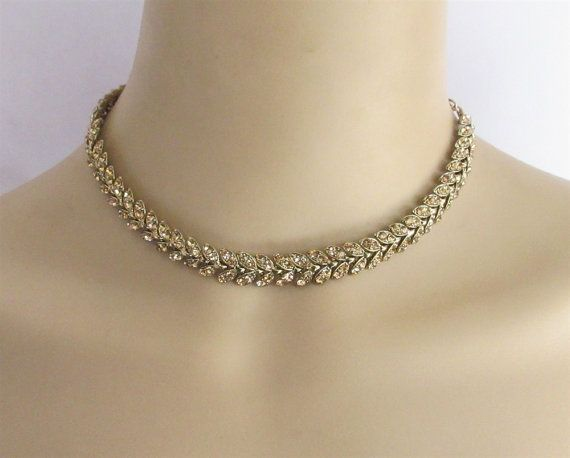Choker Antique Gold Bridal Rhinestones Necklace by Beauteshoppe