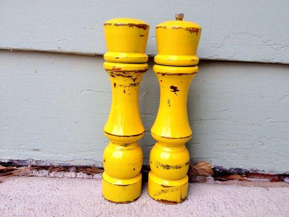 Yellow Salt Shaker And Pepper Mill Yellow Kitchen Decor Shabby Chic Housewares Yellow Shaker Set