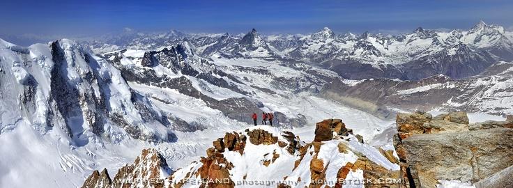 Climbers on Monte Rosa Dufourspitze W-Ridge, Highest Summit of Switzerland