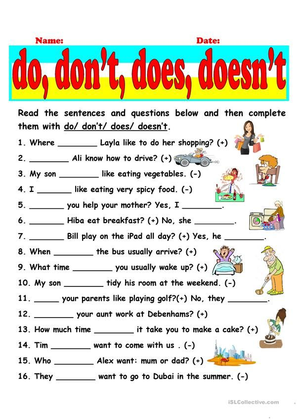 Do, Does, Don't, Doesn't Teaching English Grammar, English Grammar  Worksheets, Learn English Grammar