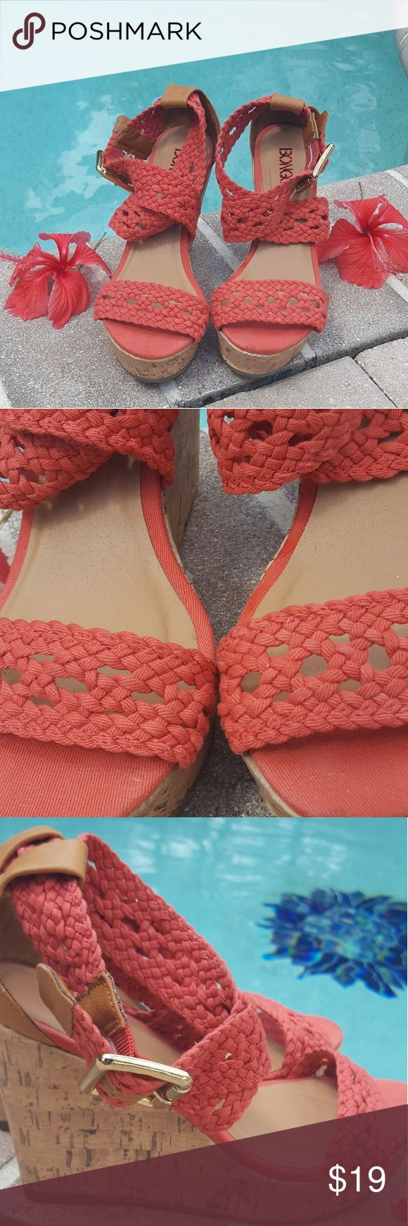 🌺BONGO🌺  SANDAL WEDGES Crochet Sandal Wedges   Like new Synthetic leather and fabric upper Crochet detailing Decorative brass-tone ankle buckle Synthetic cork panels Almond toe Synthetic leather cushioned footbed Rubber midsole Treaded rubber outsole  4-1/2 in. wedge heel 1 in. platform Open toe  Wipe clean Imported BONGO Shoes Wedges