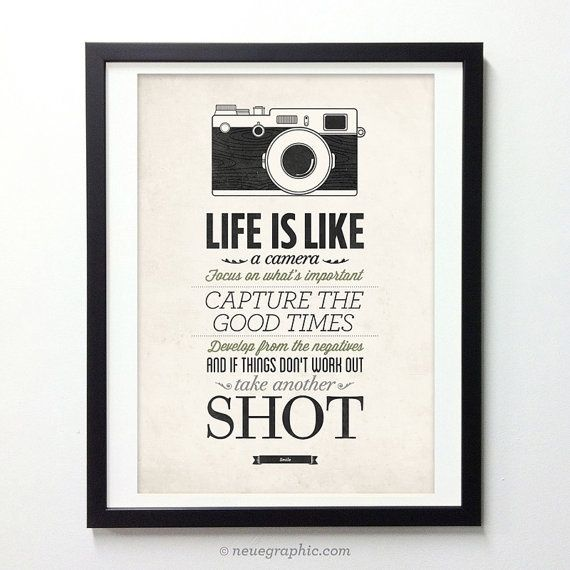 Life Is Like A Camera - Vintage Style Typography Inspirational Quote Poster #quote #print #decor #home #wisdom #neuegraphic #etsy #poster #typography