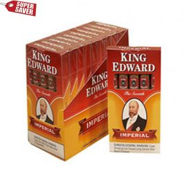 "Made in Jacksonville, Florida with 100% natural fillers for a smooth, mild, and affordable smokes, King Edward Imperial ""The Seventh"" Cigars commemorate the famous King Edward VII whose first words as King were ""Gentlemen, you may smoke,"" thereby striking down Queen Victoria's ban on smoking on the royal premises."