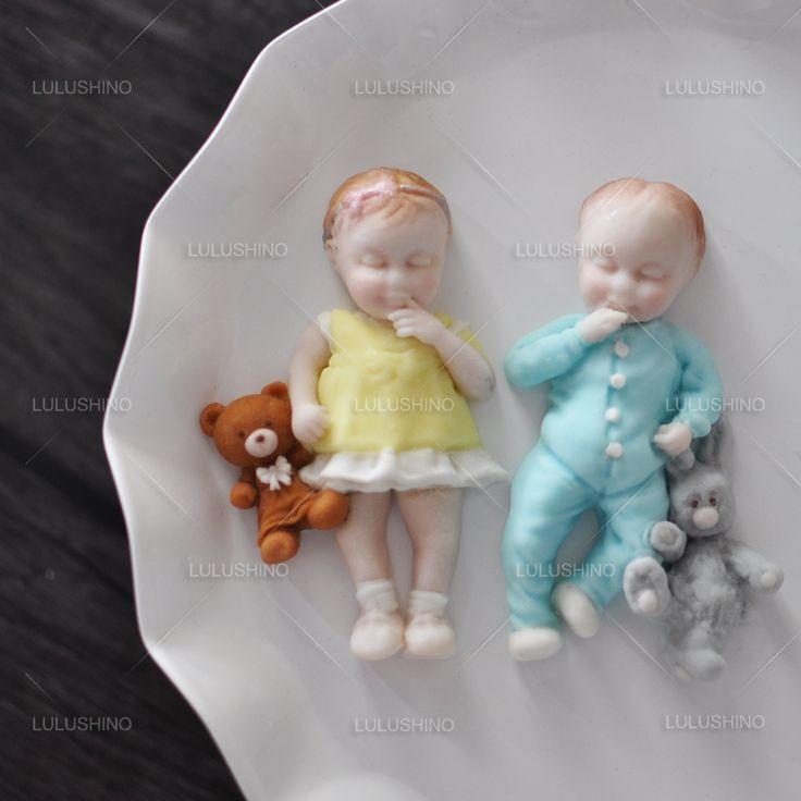 Высокое качество сахара силикона сухой плесени кукла мальчик и девочка торт плесень