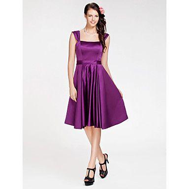 homecoming+knielange+satijnen+bruidsmeisje+jurk+-+druif+grote+maten+a-lijn+/+prinses+vierkante+/+bandjes+–+EUR+€+58.79