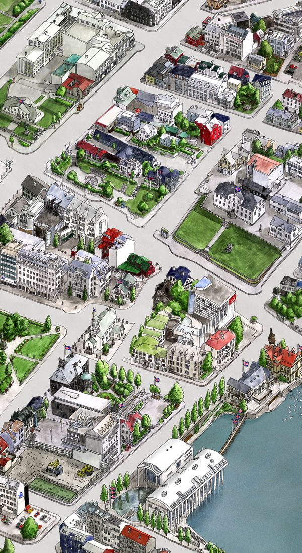 If you are traveling to Reykjavik, Iceland this illustrated map gives you on overview of downtown Reykjavik. Illustrated by Borgarmynd and Snorri Eldjarn Snorrason who hand drawn the map which took them 3000 working hours and shows some incredible details.