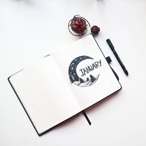 Starting my first bullet journal for 2018. January's cover page features a winter's crescent moon. I'm always torn by January being the start of the new so I feel inclined to be organised, or hibernating like a hermit; I'm always the latter as January is the coldest month here in London. Ps. I'm making a video of this set up which will be on my channel tonight. Link in bio! mireeha.com #bulletjournal #bulletjournal2018 #bulletjournaljanuary #studygram #flatlay #stationary #minimalbujo #mi...