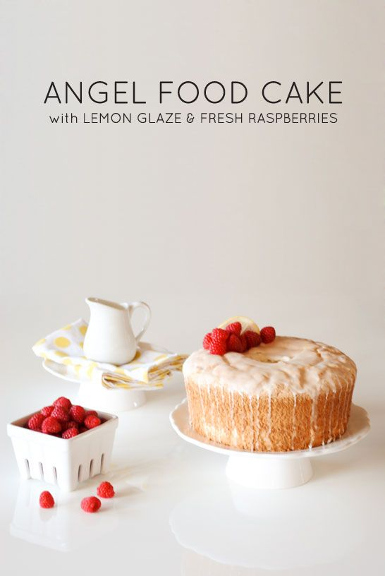 perfect for summer entertaining | Angel Food Cake with lemon glaze and fresh raspberries | Carrie Sellman for TheCakeBlog.com