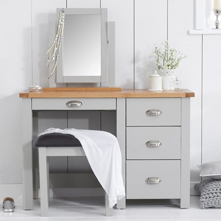 Sandringham Solid Oak Painted Cream/Grey Dressing Table -  - Dressing Table - Mark Harris - Space & Shape - 1