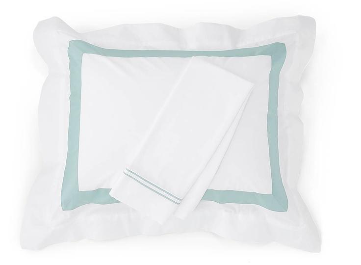 Orlo sham with Grande Hotel pillowcase and a calming Aqua blue.