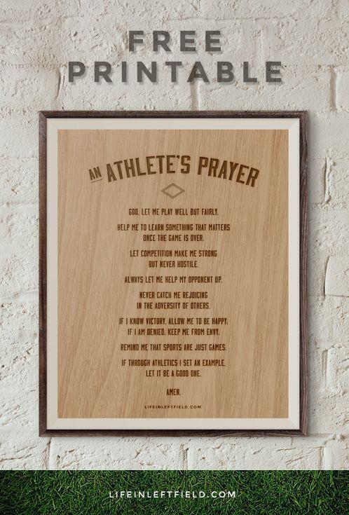 Free Printable of Athlete's Prayer | lifeinleftfield.com
