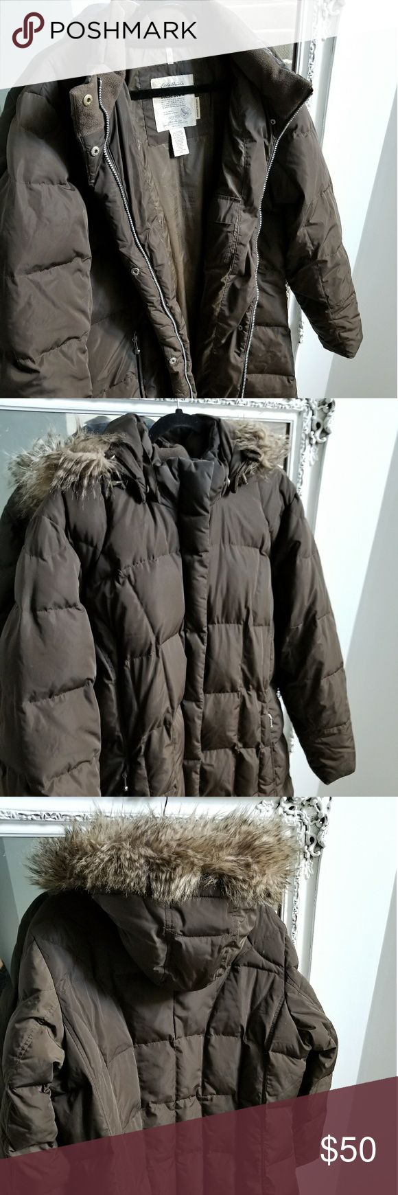 GCU Women's Plus Goose Down Coat Beautiful chocolate brown goose down coat (650 fill) with detachable fur lined hood, fleece lined, zipper and snap closures Eddie Bauer Jackets & Coats Puffers