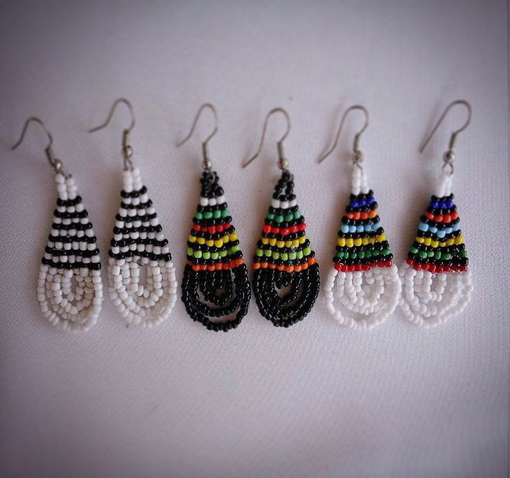 Black & White African beaded earrings