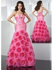 Taffeta Modified Sweetheart Ruffled Bodice Long Prom Dress