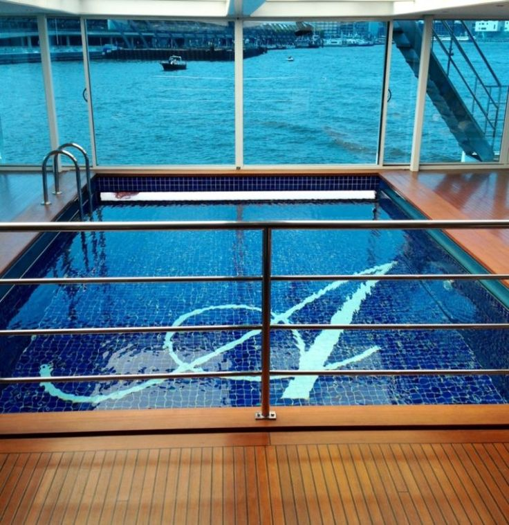 The Swimming pool on Uniworld's S.S. Antoinette Rhine River cruise is a cut above the usual river cruise style
