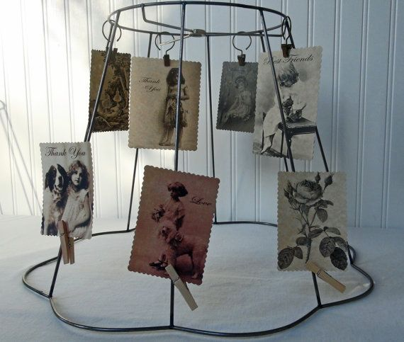 Vintage Wire Lamp Shade Frame  Postcard Holder  by RedouxChic, $22.00