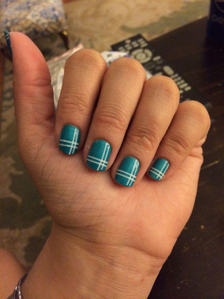 White & green plaid nails